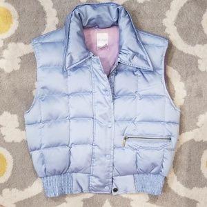 Et Vous blue down filled puffer vest, cropped